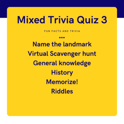 Mixed trivia quiz 3 name the landmark, virtual scavenger hunt, general knowledge, history, memorize, riddles