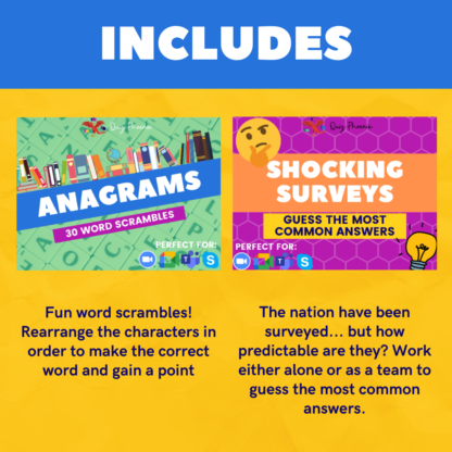 Includes anagrams and shocking surveys