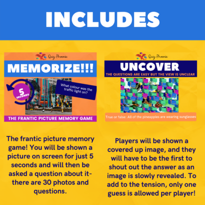 Includes memorize and uncover