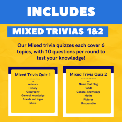 Includes mixed trivia quizzes 1 and 2