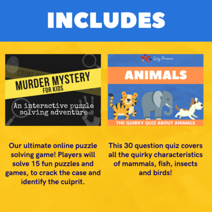 Includes murder mystery for kids and animals