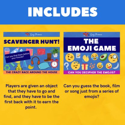 Includes virtual scavenger hunt and the emoji game