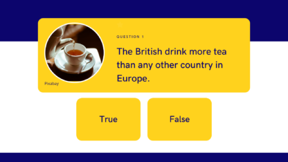 Sample question- True or false:The British drink more tea than any other country in Europe.
