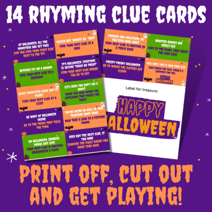 14 rhyming clue cards- print off, cut out and get playing!