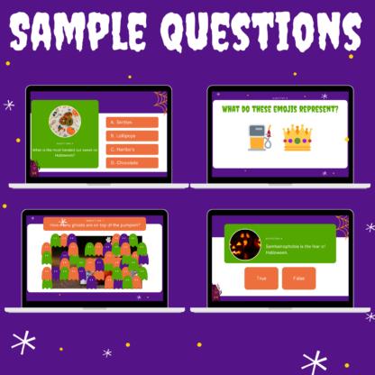 Halloween games night sample questions 2: shocking surveys, emojis, uncover, true or false