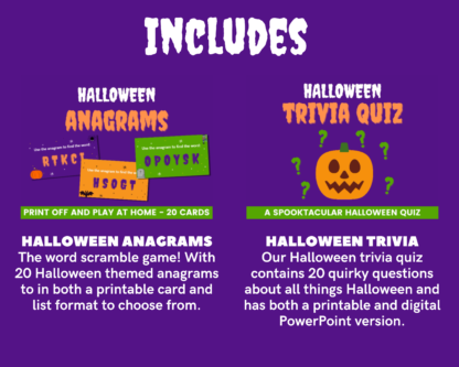 Halloween megapack includes anagrams and trivia quiz