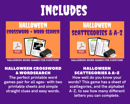 Halloween megapack includes crossword + wordsearch, and scattogories + A-Z