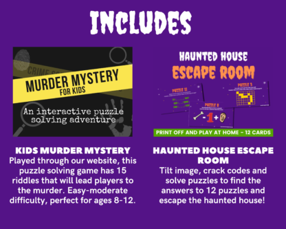 Halloween megapack includes murder mystery and haunted house escape room