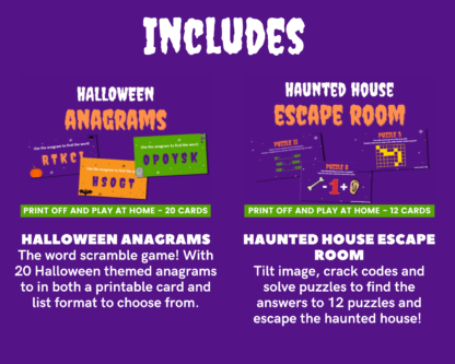 Hallowen printable megapack includes anagrams and escape room